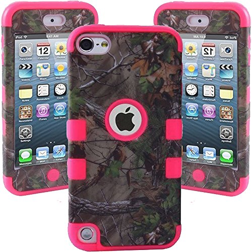 For ipod Touch 5 Case, Kecko(TM) Defender Dual Layer Realtree Camo Pink Tree Mossy High Impact Shockproof Tough Silicon Rugged Armor Hybrid Fit Case for ipod Touch 5th Generation Only--Camouflage Tree/Leaves on the Core--for Boys & Girls (Bird Hot Pink)