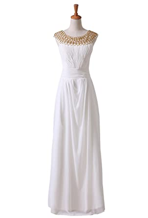 Romantic A-line Chiffon Beading Straps Neck Floor-length Prom Dress (2)