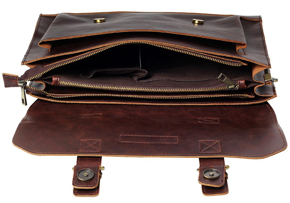 10 Wealsex Sac a main Bandouli/ère Porte-documents Cuir Vintage Solide Sac Messager Business Homme Taille 36 23 cm caf/é