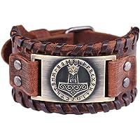 VASSAGO Pulsera con Hebilla de cinturón de Cuero marrón con diseño de Nudo irlandés Celta y Martillo de Thor