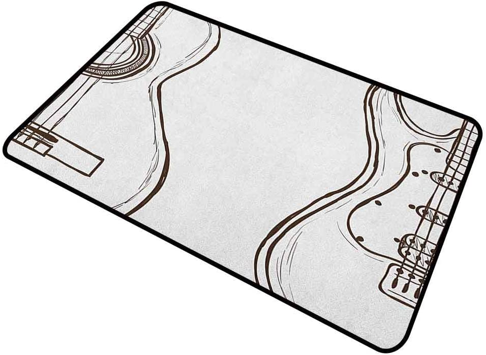 DESPKON Bath Mat Hand Drawn Monochrome Doodle Illustration of Instruments of Two Kinds Music Outdoor Door Mat for Garage, Patio, High Traffic Area Dark Brown White 24 x 35 Inch