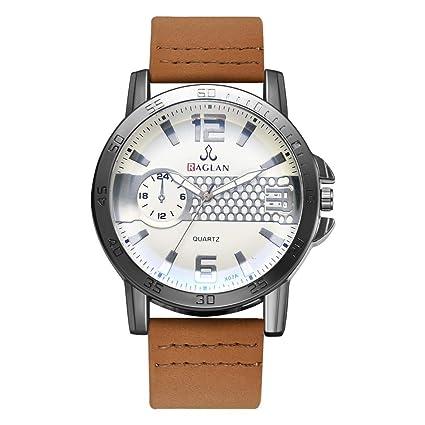 Longra Relojes de Cuarzo para Hombres de la Moda, Reloj de Cristal clásico Esfera de
