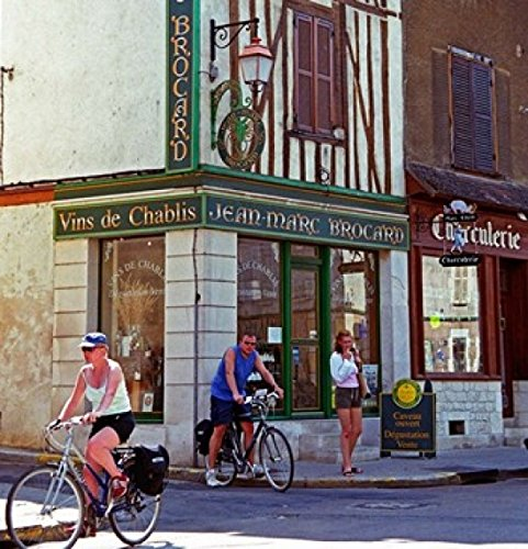 Wine Shop and Cycling Tourists Chablis, France by Per Karlsson