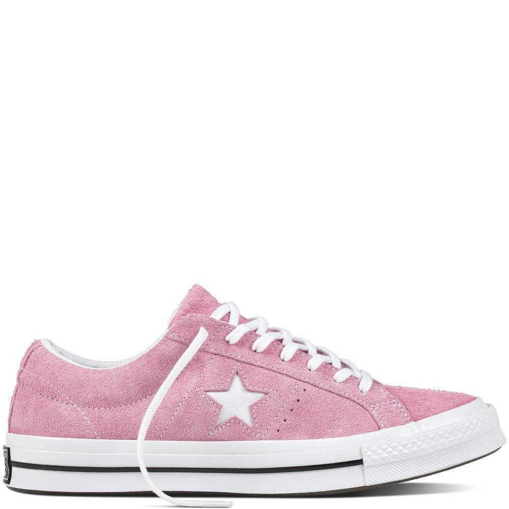 Converse Unisex-Erwachsene Lifestyle One Star OX Suede Fitnessschuhe, Schwarz  36/37 EU|Pink (Light Orchid/White/Black 523)