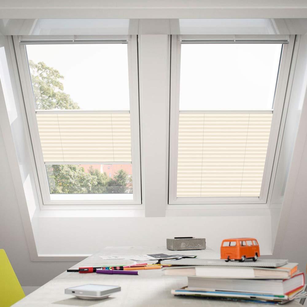 Orignal VELUX Plissee   Faltstore FHL SK08 1258S   Bedienart   Manuell   Farbe   Uni Creme   Fenstergröße   SK08   Fenstertypen   GGU, GGL, GPU, GPL, GTU, GTL, GXU, GXL _17512