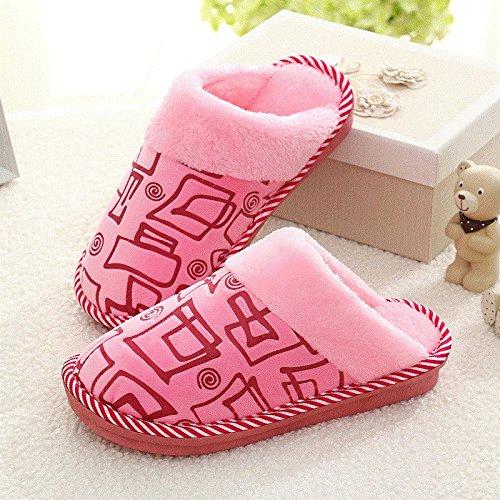 Cotone fankou pantofole pacchetto femmina con un paio di soggiorno invernale home anti-slittamento caldo spesse pantofole maschio e ,44-45, piazza rosa