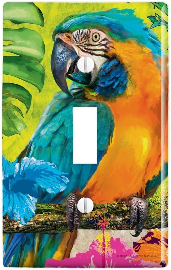 TROPICAL MACAW PARROTS COLORFUL LOVE BIRDS OUTLET WALL PLATE ROOM HOME ART DECOR