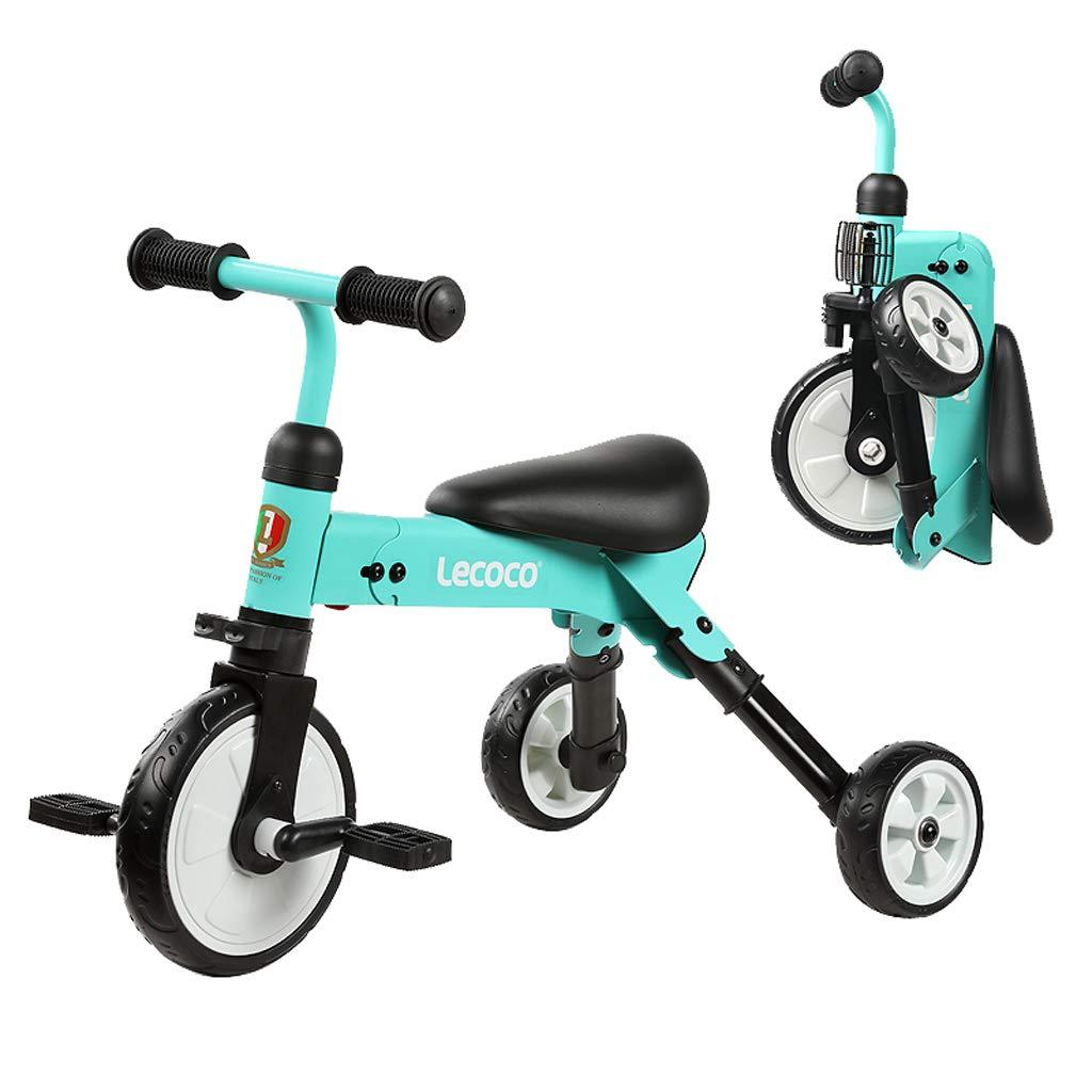 Zhijie-chezi 折りたたみ式 子供用自転車 1~3歳 赤ちゃん 幼児 自転車 軽量 自転車 スクーター ベビーカー カーボンスチール ベビーキャリッジ B07KST5YMR  ブルー