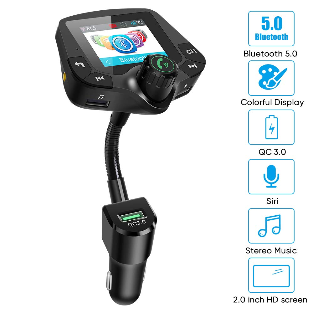 Bluetooth Fm Transmitter for car, 5.0 Bluetooth Hands-Free Calling Crystal Sound 2.0 inch Multicolor Screen Wireless Radio Adapter,3 USB Ports Charger QC3.0/3.4A AUX TF Card U-Disk Music Player by iUcare