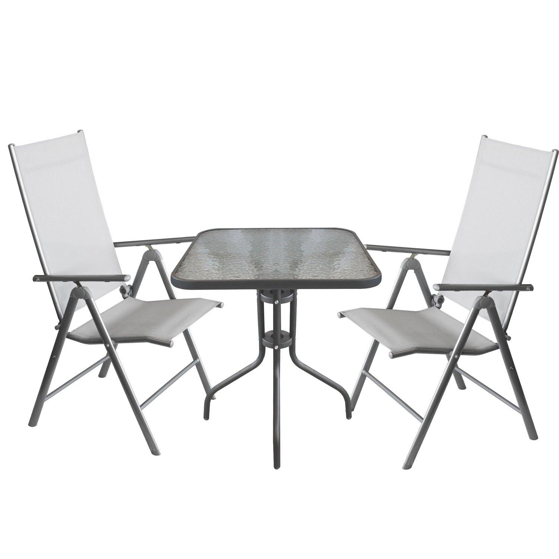 Balkonmöbel-Set Bistrotisch, Tischglasplatte geriffelt, Metall ...