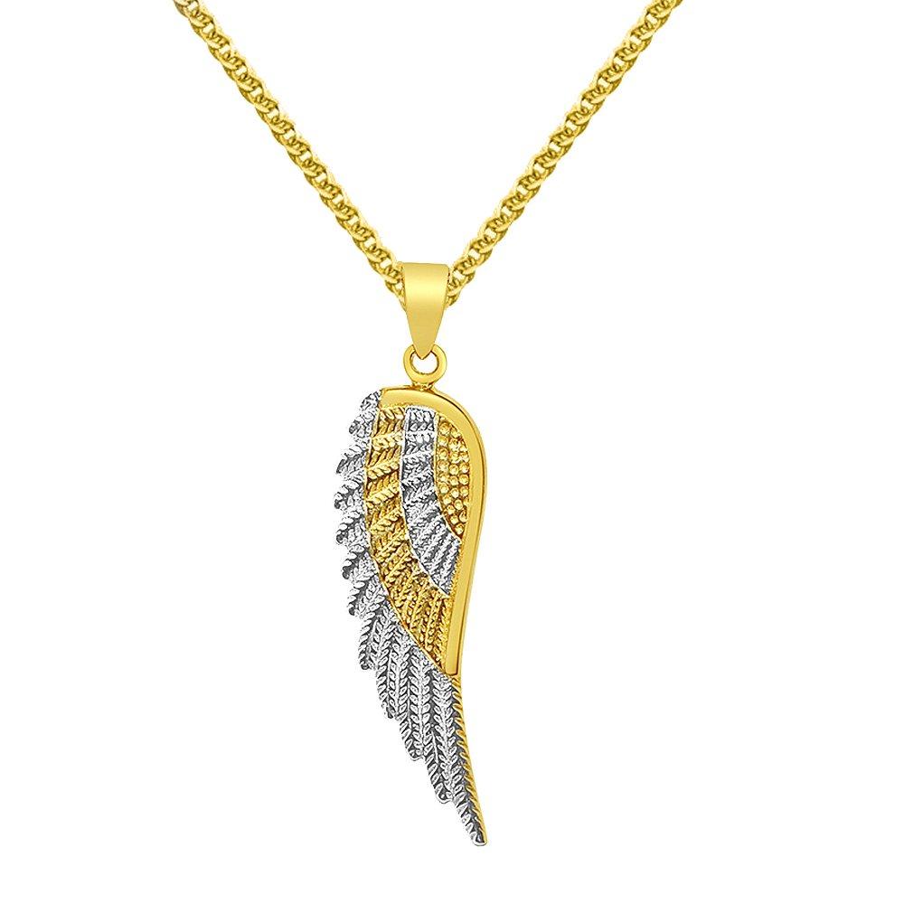 Precious Stars Jewelry 14k Two-Tone Gold Angel Wing Pendant 1.4-mm Flat Wheat Chain