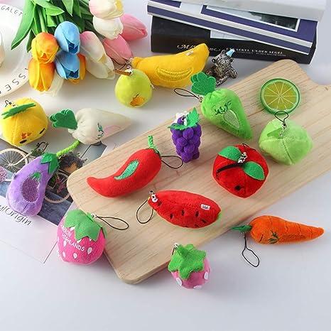 Llavero con diseño de Frutas y Verduras de Felpa para Colgar ...
