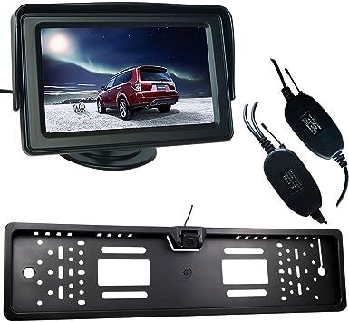 IR EU-Nummernschild Mit Rückfahrkamera Funk Auto Monitor 170° IP67 4 LED 420 TVL
