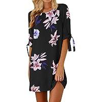 SMILEQ Women Casual Dress Summer Half Sleeve Bow Bandage T Shirt Sundress Floral Striaght Short Mini Skirt