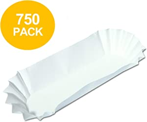 750 Paper Hot Dog Trays | White Hot Dog Wrappers | 8 Inch Hotdog Tray Holders Plates | Disposable Fluted Hotdog Boats | Hotdog Container - Concession Stand Trays - Hot Dog Cart Accessories