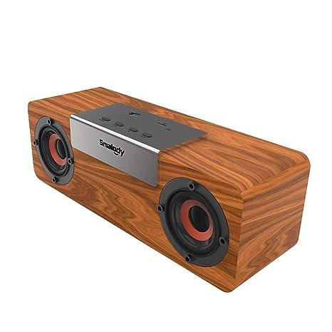Smalody Holz Bluetooth Lautsprecher Soundbox Kabellos Tragbar Wireless Lautsprecher Stereo Mini Outdoor Schreibtisch Wohnzimmer Lautsprecher Mit Fm