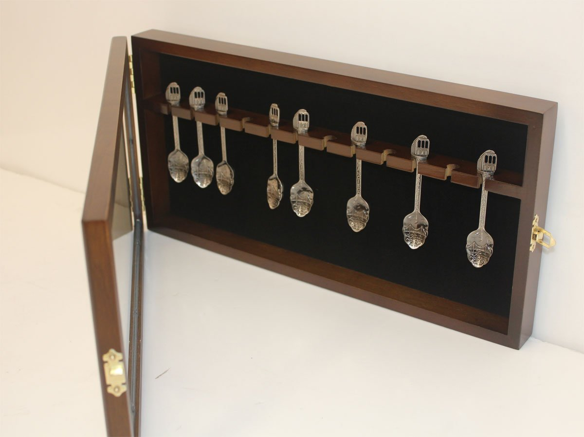 Spoon Rack Display Case Wall Shadow Box to hold 12 Souvenir spoons (Mahogany Finish) SP12-MAHO
