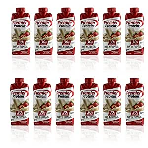 Premier Protein Strawberries & Cream Flavored High Energy Protein Shake 30g Protein of 11 Oz - 12 Pack