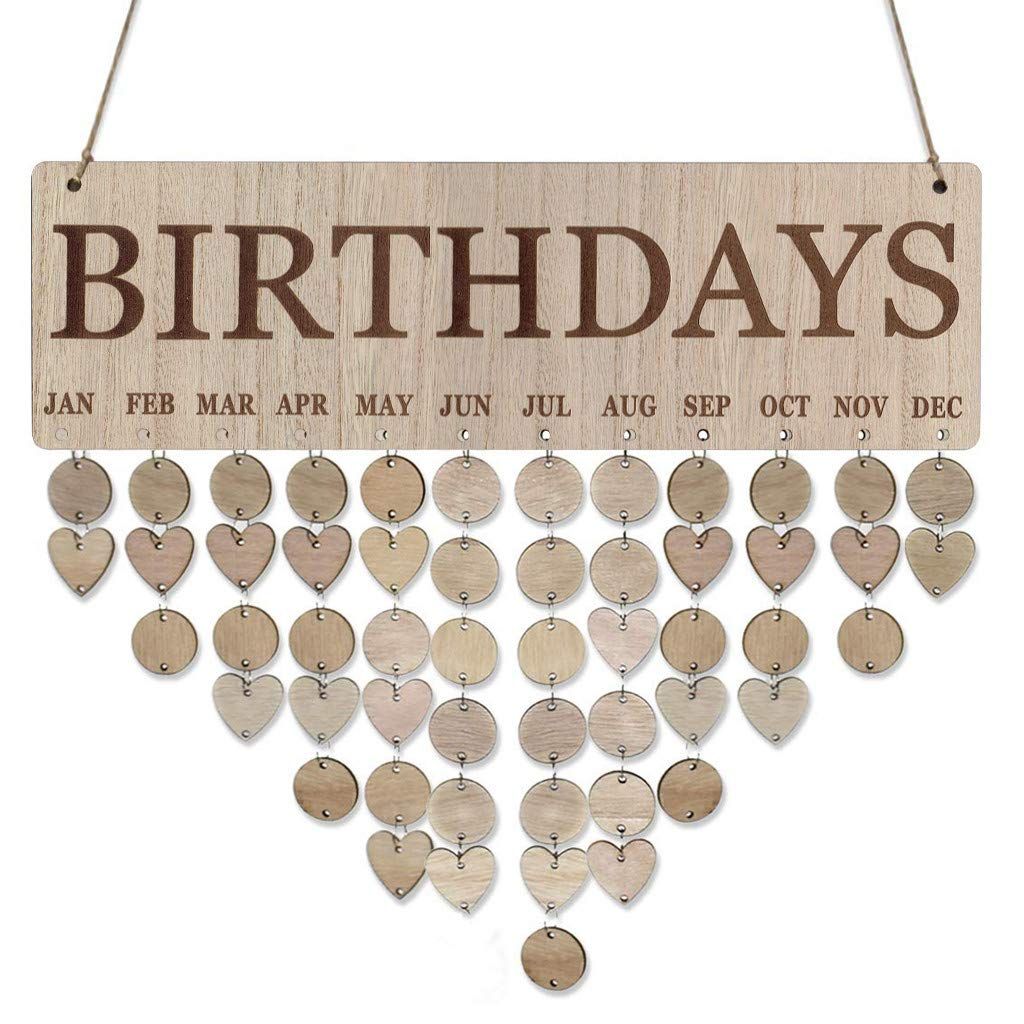 AKwell Family Birthday Board Plaque DIY Hanging Wooden Birthday Reminder Calendar with 50pcs Round Discs