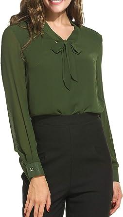 Modase Blusa de Gasa para Mujer, Informal, con Lazo, Cuello de ...
