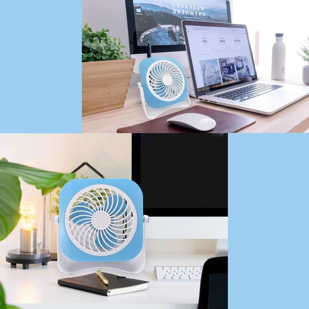4 inch AirArtDeco Mini Ventilateur de Bureau USB 10 cm Mini Ventilateur de Table 10 CM Petit Ventilateur 2 Vitesses et 5 Lames Ventilateur de Table Bleu//Blanc 2.50watts