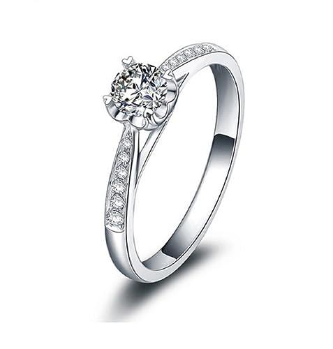 bd14753274e7 Anillo de compromiso de oro blanco puro de 18 quilates con diamantes  naturales de 0