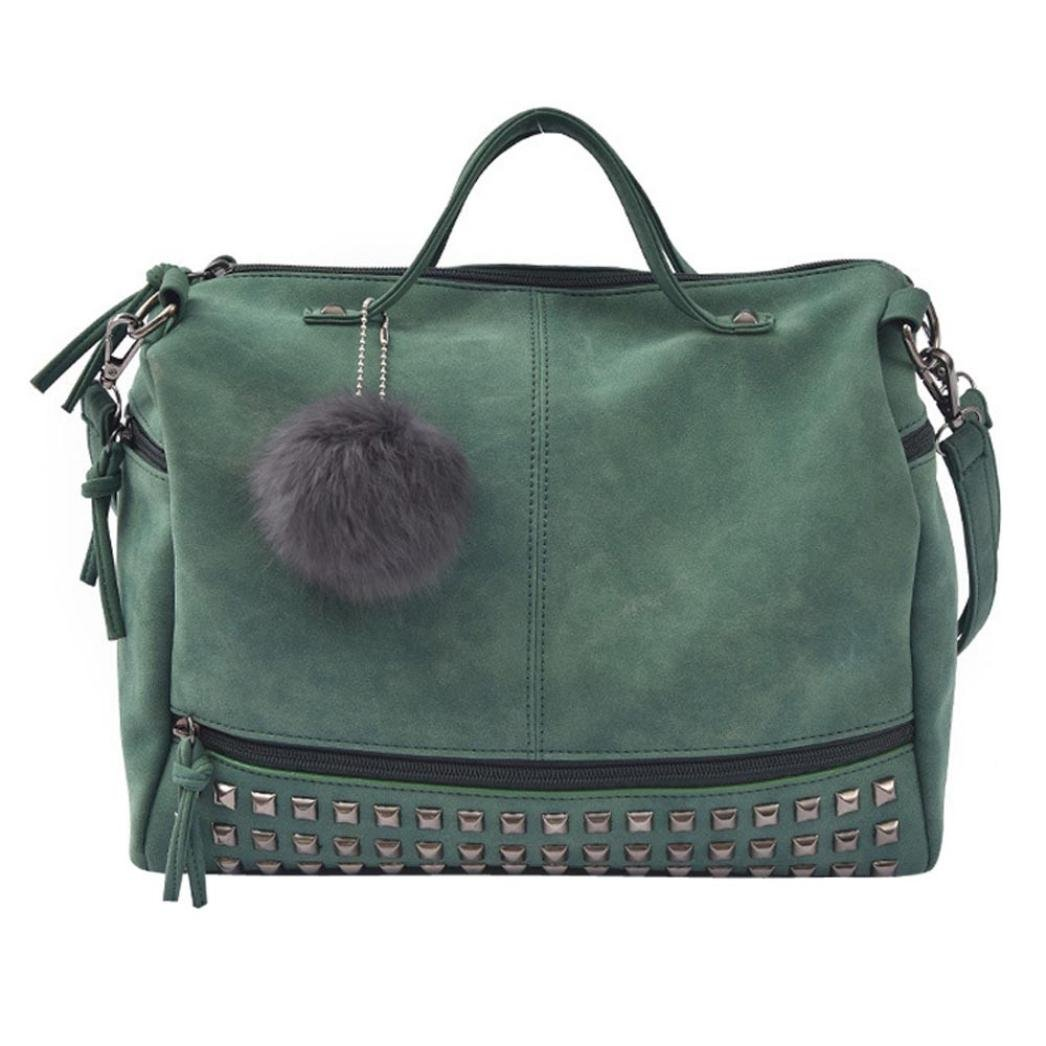 Sunyastor Women Rivet Handbag Large Shoulder Bag Travel Bag Casual Big Shopping Bags Tote Handbag Travel Bags for Women Girls (Green, one Size) by Sunyastor-bag