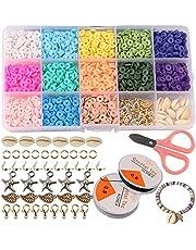 ZesNice Armband Maken Kit, Klei Kralen voor Sieraden Maken, Heishi Kralen Polymeer Platte Kraal voor Meisjes Volwassenen Armband Ketting Ambachtelijke kits Sieraden