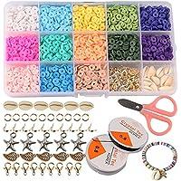 ZesNice Armband Maken Kit, Klei Kralen voor Sieraden Maken, Heishi Kralen Polymeer Platte Kraal voor Meisjes Volwassenen…