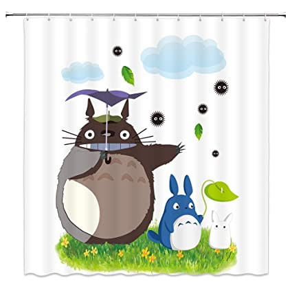 Cute Totoro Decor White Home Shower Curtain Umbrella Yellow Flowers Green Grass Plants Leaves Cartoon Picture