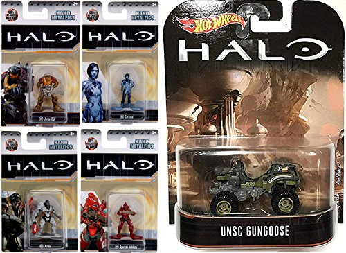 Cortana Achilles Atriox Jorge Halo Mini Figures & UNSC Gungoose Hot Wheels Jeep Premium Retro / Spartan Achille + Jorge-052 / MS10 MS9 Video Game 4 Pack & Vehicle Entertainment Series Bundle