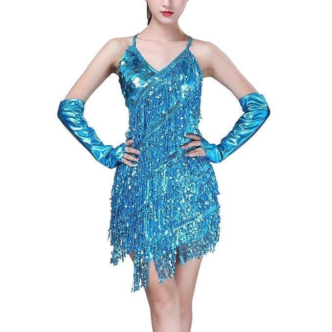 Hongyuangl Danza Femminile Indossare Paillettes Frangia Nappa Latino Abito da  Ballo Senza Maniche V-Neck Rumba Gonna  Amazon.it  Abbigliamento d38e8be675a