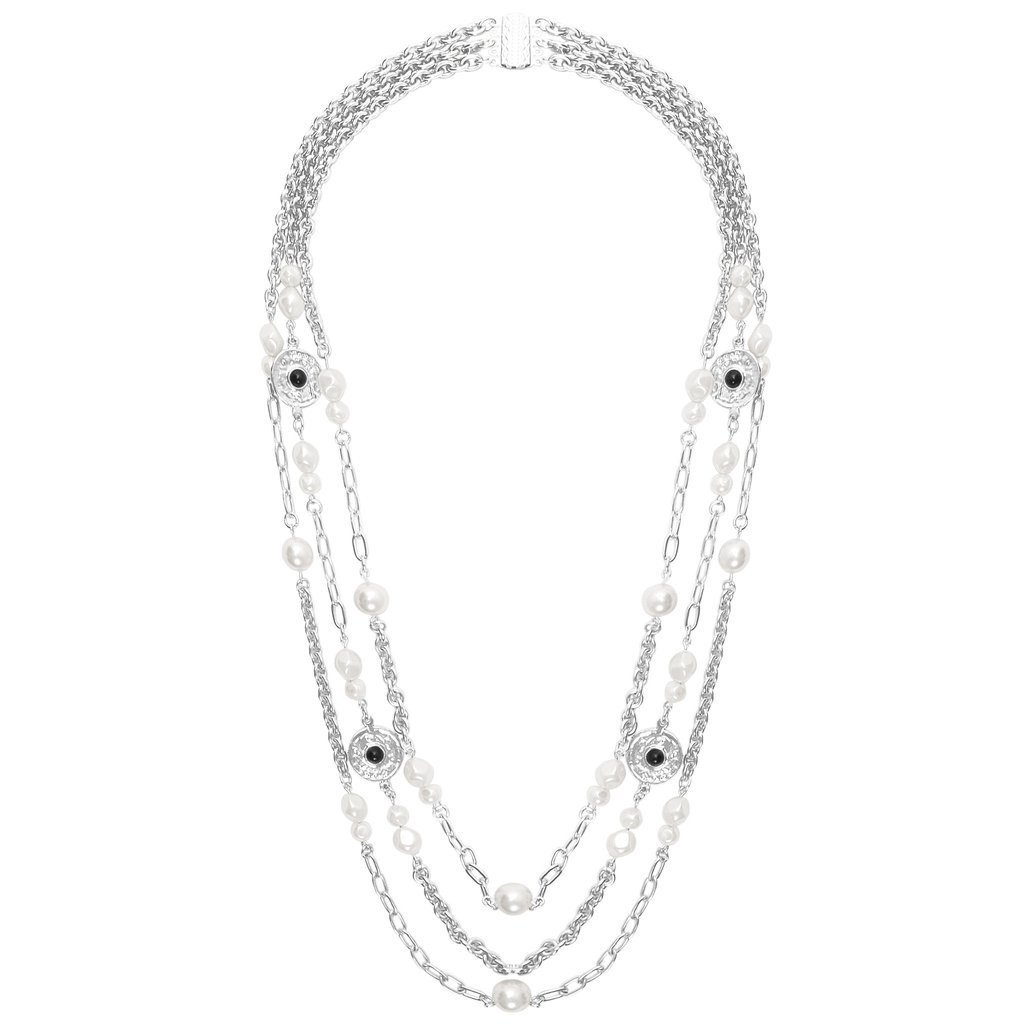 Pearls and Coins Triple Strand Long Necklace in Silver