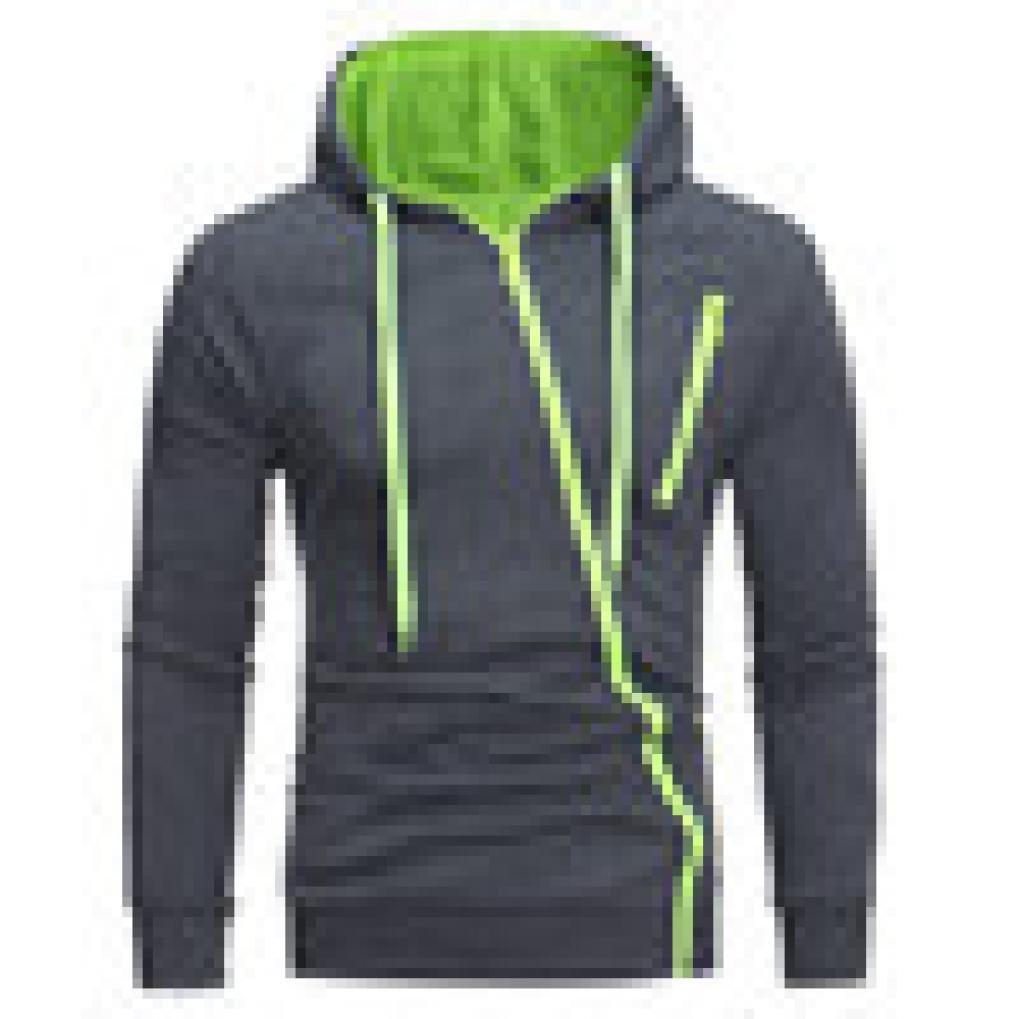 GREFER Clearance Mens' Personality Long Sleeve Zipper Hoodie Hooded Sweatshirt Tops Jacket Coat Outwear with Pocket (XL, Green)