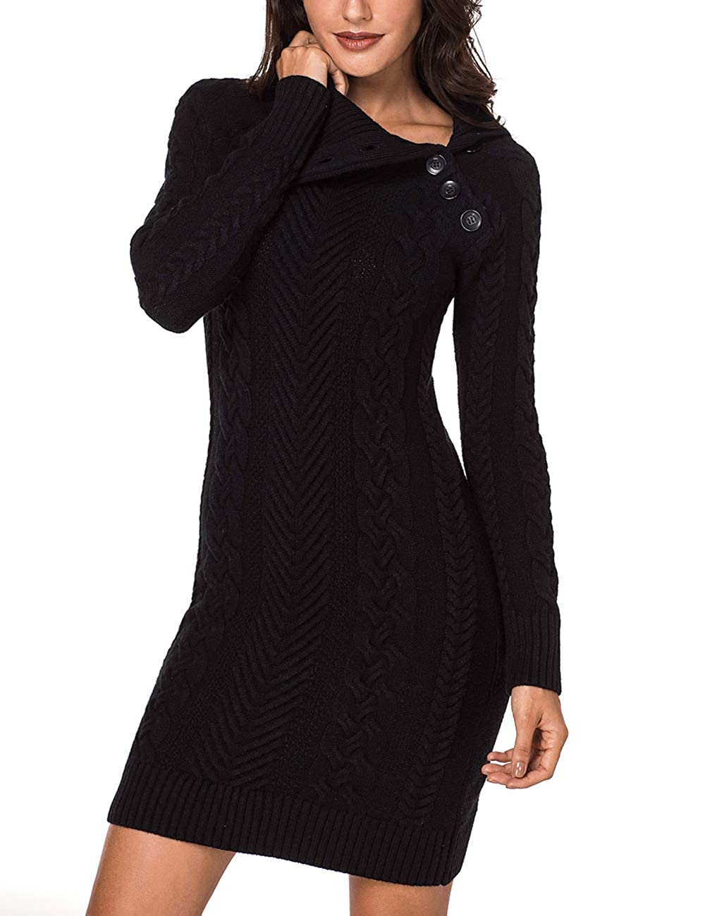 c72d2d587cf Lookbook Store Women s Asymmetric Button Collar Cable Knit Bodycon Sweater  Dress at Amazon Women s Clothing store