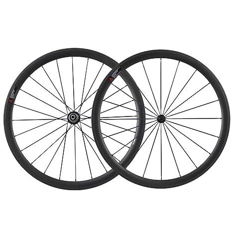 IMUST Cerámica Rodamientos Hub 700C Aero Carbono Carretera Bicicleta Rueda Clincher 38mm Profundidad 23mm Anchura 1442g