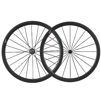 IMUST Cerámica Rodamientos Hub 700C Aero Carbono Carretera Bicicleta Rueda Clincher 38mm Profundidad 23mm Anchura 1442g/pair: Amazon.es: Deportes y aire ...