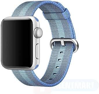 Sports Royal Woven Nylon Wrist Band Strap Bracelet For Apple Watch 38mm Tahoe Blue Stripe