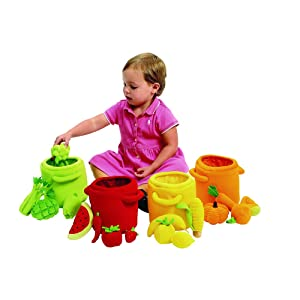 Excellerations Plush Fruits and Vegetable Sorting and Counting Toy for Toddlers, 20 Plush Sorting Pieces and Colored Bins, Early STEM