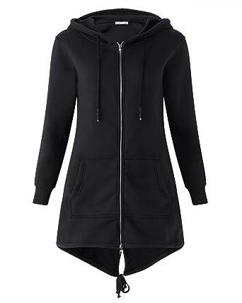 Kidsform Women Hoodie Zip Plain Pullover Sweatshirts Long Sleeve Sweater  with Drawstring Tops Black S  db3002e011a8
