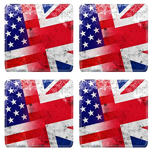 Luxlady Natural Rubber Square Coasters IMAGE ID 31045954 USA and UK Flag with a vintage and old look