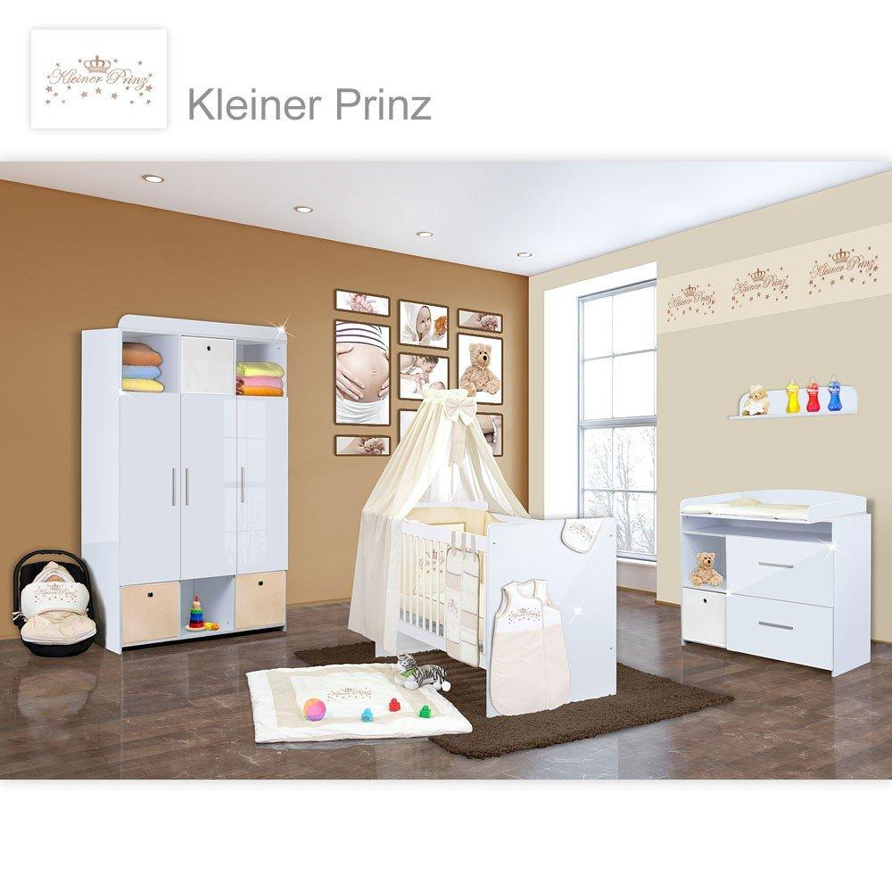 Babyzimmer Mexx in Weiss Hochglanz 20 tlg. mit 3 türigem Kl. + Kleiner Prinz Beige