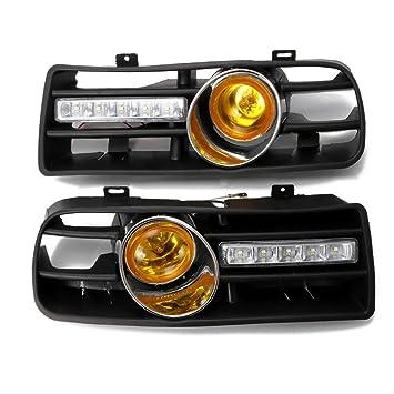 WEISHAZI Pareja Parrilla de parachoques delantero inferior con luz antiniebla LED y luz DRL para VW