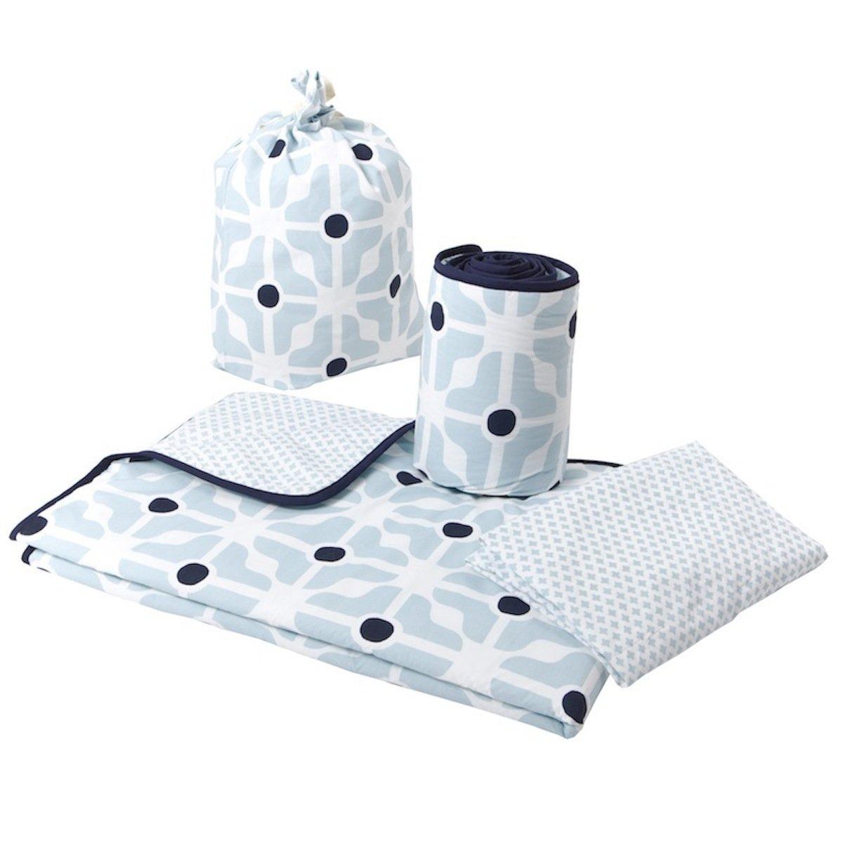 Olli Ella Cot Bed Linen Set with Half Bumper (Blue) by BabyCentre
