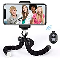 Phone Tripod Stand, Flexible Camera Tripod with Wireless Remote &Universal Clip, 360° Adjustable Mini Cell Phone Tripod…
