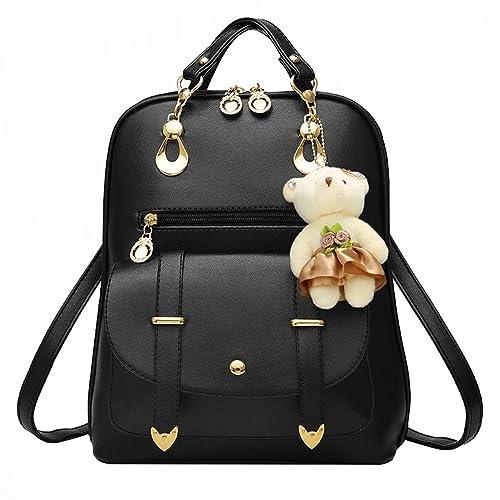 Hotrose® - Bolso mochila de Piel para mujer Negro negro: Amazon.es: Zapatos y complementos