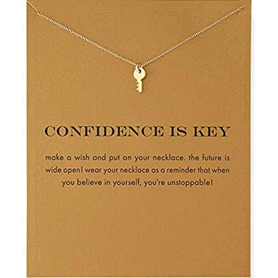 HENGSONG Clavicle Necklace with Message Card Pendant Necklace Choker for Women Jewelry Accessories Gifts Key Plated Golden: Toys & Games