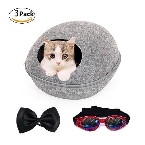 LA VIE Cueva de Fieltro para Mascotas Nido Gatos con Diseño de Concha de Huevo Universal