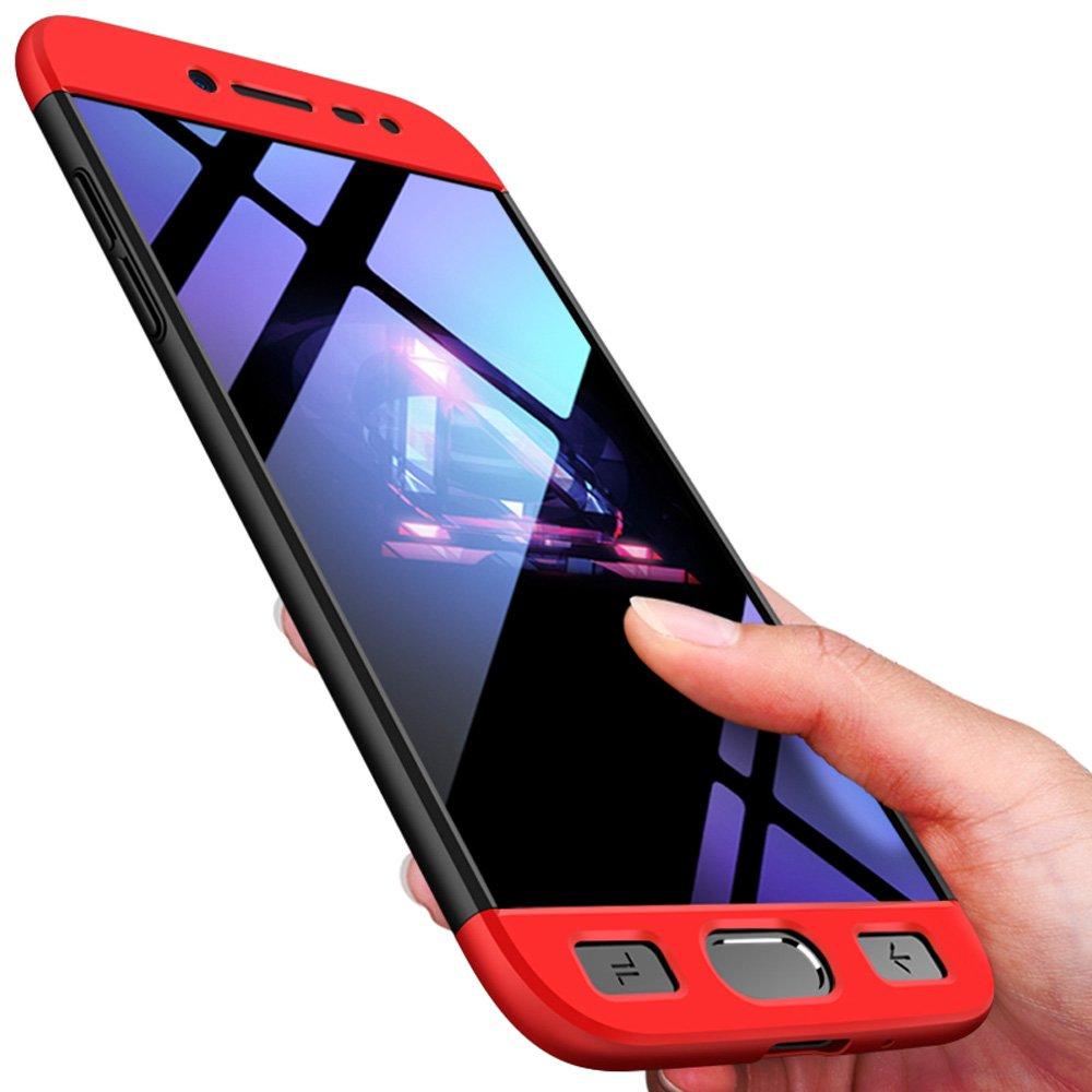 xinyunew Coque Galaxy J2 Pro 2018,360 degr/és Protection /Étui Bumper Protection Prot/ège /Écran en Verre Tremp/é 3-en-1 PC Ultra Rigide L/éger Housse Etui Protector pour Samsung J2 Pro 2018 Rouge