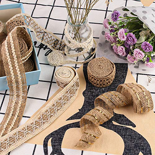 VGOODALL 9 Rolls Jute Ribbons,Lace Craft Ribbon Burlap 18 Meters for Crafts Wraping Gifts Party Holiday and Rustic Wedding Decorations